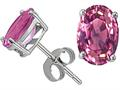 Tommaso Design(tm) Oval 8x6 mm Genuine Pink Tourmaline Earrings Studs