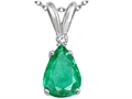 Tommaso Design(tm) Pear Shape Genuine Emerald and Diamond Pendant