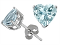 Tommaso Design(tm) Heart Shape 7mm Simulated Aquamarine Earrings Studs