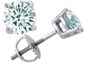 Tommaso Design(tm) Round Genuine Aquamarine Earrings Studs