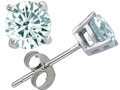 Tommaso Design(tm) 6mm Round Genuine Aquamarine Earrings Studs