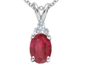 Tommaso Design(tm) Genuine Oval 8x6 Ruby and Diamond Pendant