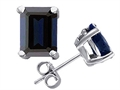Original Star K(tm) Emerald Cut 8x6mm GENUINE Sapphire Earrings Studs