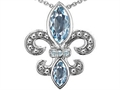Original Star K(tm) Genuine Aquamarine and Diamond Fleur De Lis Pendant