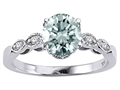 Tommaso Design(tm) Genuine Aquamarine Round 7mm s Solitaire Engagement Ring