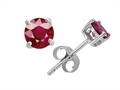 Original Star K(tm) Small Genuine 4mm Round Ruby Earrings Studs