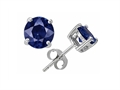 Original Star K(tm) Small Genuine 4mm Round Sapphire Earrings Studs