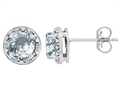 Tommaso Design(tm) Genuine 6mm Round Aquamarine and Diamond earring Studs