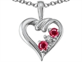 Tommaso Design(tm) Genuine Ruby and Diamond Heart Pendant