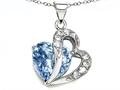 Original Star K(tm) Heart Shape 12mm Simulated Aquamarine Pendant