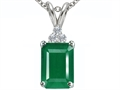 Tommaso Design(tm) Emerald Cut 7x5mm Genuine Emerald Pendant