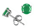 Tommaso Design(tm) Round 5mm Genuine Emerald Earrings