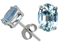 Tommaso Design(tm) Oval 8x6mm Genuine Aquamarine Earrings Studs