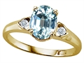 Tommaso Design(tm) Oval 8x6mm Genuine Aquamarine Ring