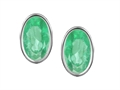 Original Star K(tm) Oval Genuine Emerald Bezel Set Small Earrings Studs