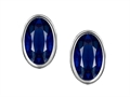 Original Star K(tm) Oval Genuine Sapphire Bezel Set Small Earrings Studs