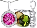 Switch-It Gems(tm) Round 10mm Simulated Pink Tourmaline Pendant total of 12 Interchangeable Simulated Birth Months