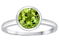 Tommaso Design(tm) 7mm Round Genuine Peridot Engagement Solitaire Ring