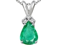 Tommaso Design(tm) Pear Shape Genuine Emerald Pendant