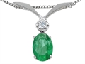 Tommaso Design(tm) Oval 7x5mm Genuine Emerald Pendant