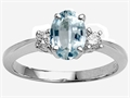 Tommaso Design(tm) 8x6mm Oval Genuine Aquamarine and Diamond Engagement Ring