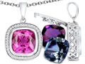 Switch-It Gems(tm) Interchangeable Simulated Pink Tourmaline Pendant Set with 12 Cushion Cut 10mm Simulated Birth Months In
