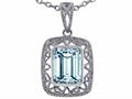 Tommaso Design(tm) Emerald Cut Simulated Aquamarine Pendant