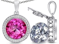 Switch-It Gems(tm) 2in1 Round 10mm Simulated Pink Tourmaline Pendant with Interchangeable Simulated White Topaz Included