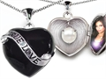 Original Star K(tm) True Love Black Enamel Locket With 7mm Round Simulated Pearl Surprise