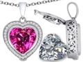 Switch-It Gems(tm) 2in1 Heart 10mm Simulated Pink Tourmaline Pendant with Interchangeable Simulated White Topaz Included