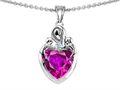 Original Star K(tm) Loving Mother with Twins Children Pendant With 8mm Heart Simulated Pink Tourmaline
