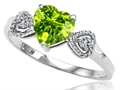 Tommaso Design(tm) Genuine Peridot Heart Shape Engagement Promise Ring