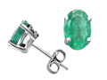 Tommaso Design(tm) Oval 7x5mm Genuine Emerald Earrings Studs
