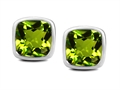 Original Star K(tm) 8mm Cushion Cut Simulated Peridot Earrings Studs