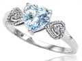 Tommaso Design(tm) Genuine Aquamarine Heart Shape Engagement Promise Ring