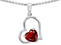 Original Star K(tm) 7mm Heart Shape Simulated Garnet Pendant