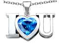 Original Star K(tm) 8mm Heart Shape Simulated BlueTopaz I Love You Heart Pendant