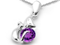 Original Star K(tm) Round Simulated Amethyst Cat Pendant