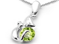 Original Star K(tm) Round 6mm Simulated Peridot Cat Pendant