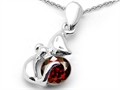 Original Star K(tm) Round Simulated Garnet Cat Pendant