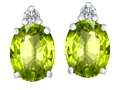 Original Star K(tm) 8x6mm Oval Simulated Peridot Earrings Studs