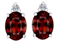 Original Star K(tm) 8x6mm Oval Simulated Garnet Earrings Studs
