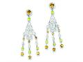 Sterling Silver Citrine and Peridot Dangle Earrings