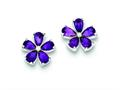 Sterling Silver Amethyst Floral Earrings