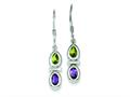Sterling Silver Peridot and Amethyst Dangle Earrings